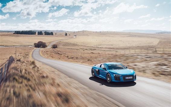 Papéis de Parede Audi R8 V10 Além do carro azul de alta velocidade