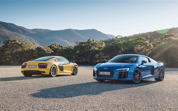 Wallpaper Audi R8 V10 cars, yellow and blue