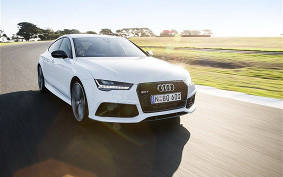 Wallpaper Audi RS7 white car speed