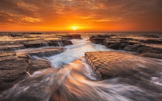 Fond d'écran Australie nature paysage, mer, le matin, les rochers, le lever du soleil