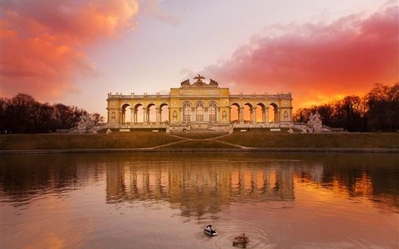 壁紙 オーストリアシェーンブルン公園、湖、赤い空、日没