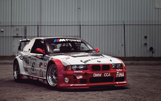 Wallpaper BMW race car, white and red