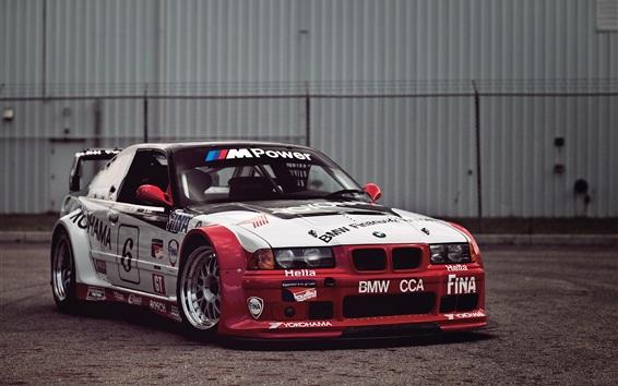 Fond d'écran BMW voiture de course, blanc et rouge