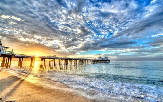Wallpaper Beach, coast, sea, bridge, building, clouds, sunset