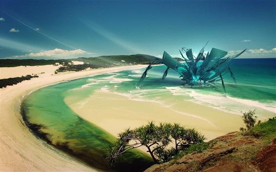 배경 화면 해변, 바다, 미래 장비, 추상적 인 디자인
