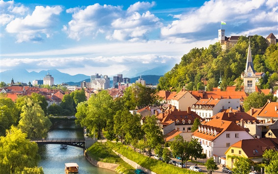 Wallpaper Beautiful Ljubljana city in Slovenia, houses, river, trees, mountains, clouds