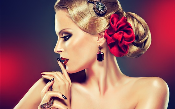壁紙 美しいブロンドのファッションの女の子、ジュエリー