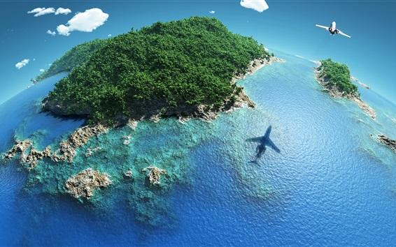 Hintergrundbilder Schöne blaue Erde, Inseln, Riffe, tropisch, Flugzeug, Himmel, Meer, kreative Bilder