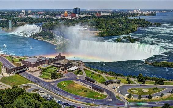 Papéis de Parede bela cidade no Canadá, Niagara Falls, rua, casa, estrada