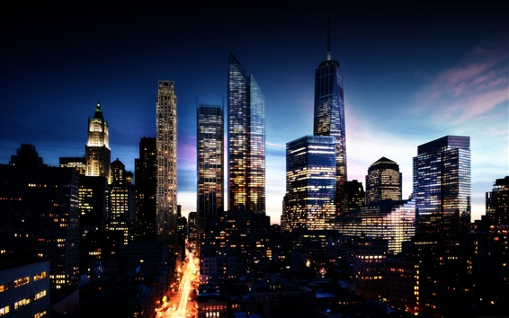 Wallpaper Beautiful city night view, skyscrapers, lights, New York, USA
