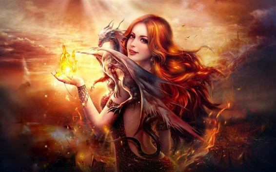 Papéis de Parede Menina bonita fantasia, de cabelo vermelho, sorriso, dragão, fogo