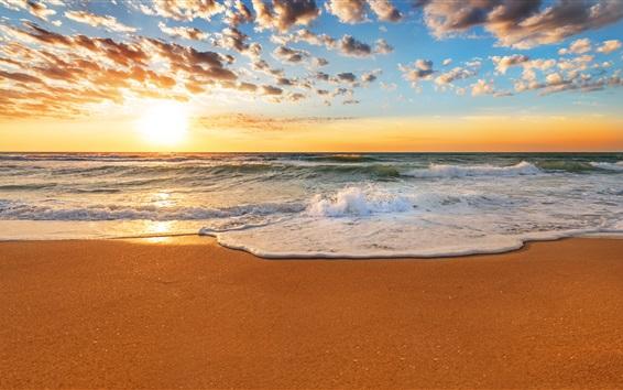 Papéis de Parede Sunset Beach bonito, costa, mar, ondas, areia, sol