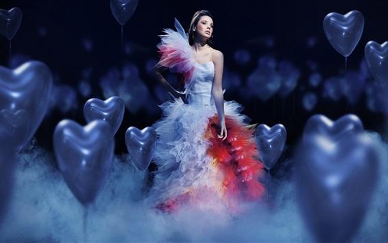 Wallpaper Beautiful white dress girl, love hearts balloons