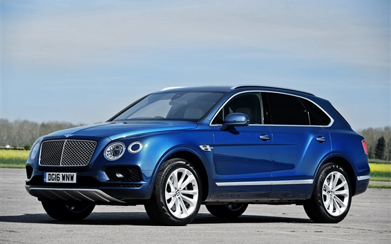 Обои Bentley Bentayga синий внедорожник автомобиль