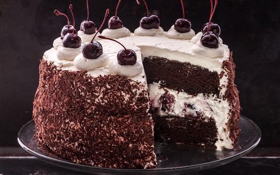 Wallpaper Black forest cake, chocolate, cherries