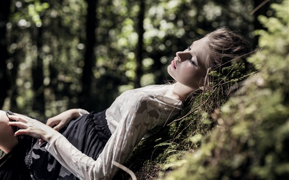 Wallpaper Blonde girl sleeping in forest, relaxation