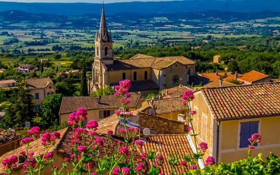Papéis de Parede Bonnieux, França, casas, flores cor de rosa