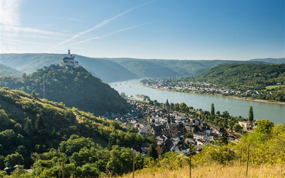 Обои Браубах, Германия, река Rhein, Марксбург замок, город