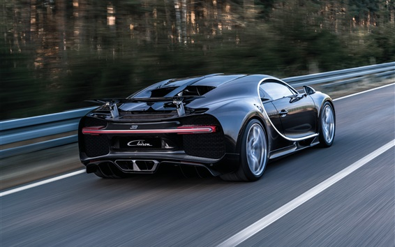 Wallpaper Bugatti Chiron black supercar back view