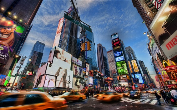 Wallpaper Bustling city, New York, USA, night, streets, skyscrapers