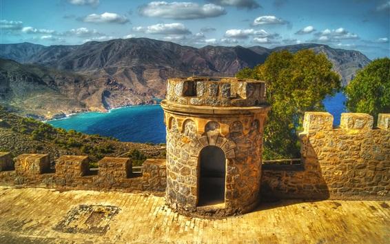 Fond d'écran Carthagène, Espagne, château, forteresse, lac, montagnes