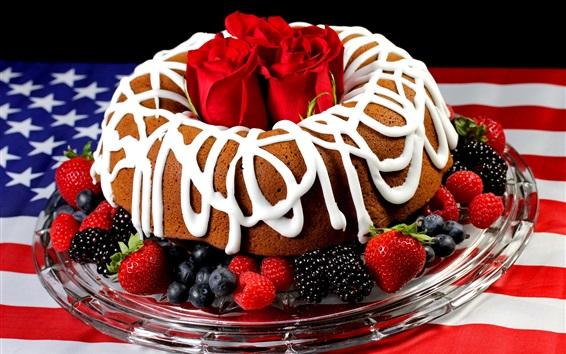 壁紙 チョコレートケーキ、クリーム、赤、バラ、ブルーベリー、ラズベリー、イチゴ