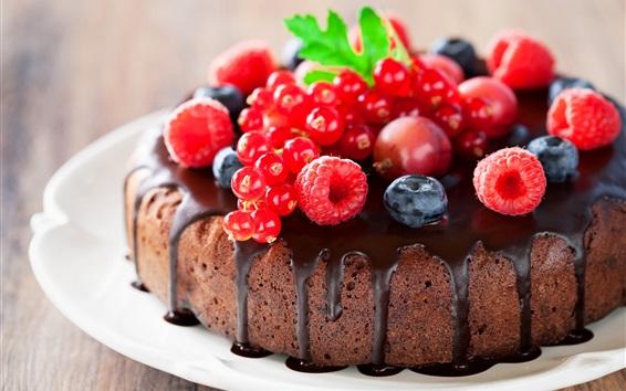 Papéis de Parede Bolo de chocolate, framboesa, mirtilo, bagas, comida deliciosa