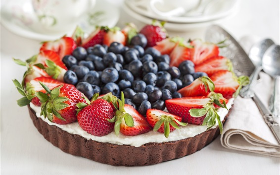 Wallpaper Chocolate cake, strawberries, blueberries, food