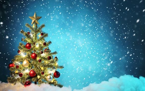 Wallpaper Christmas tree, colorful balls, snow, winter, beautiful
