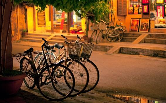 Wallpaper City, night, street, bikes, sidewalk
