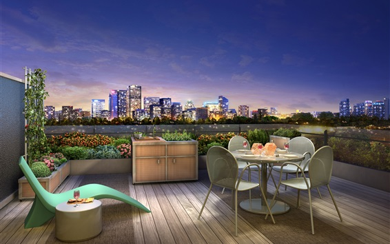 Wallpaper City night, terrace, lights, dinner, wine, 3D design