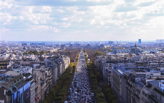 Wallpaper City view of Paris in France, houses, buildings, road, traffic, clouds