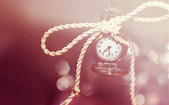 Wallpaper Clock, watch, numerals, rope, bokeh