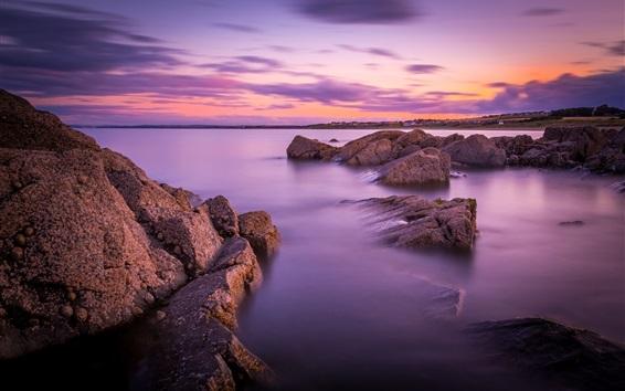 Wallpaper Coast beautiful dawn, stones, sea, clouds