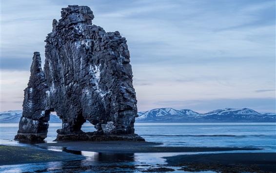 Wallpaper Coast, sea, mountains, rock, clouds, blue style