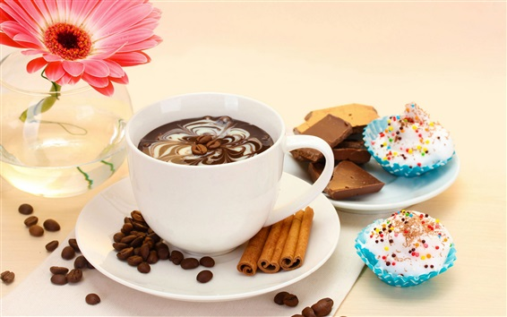 Wallpaper Coffee, chocolate, gerbera, cake, cup