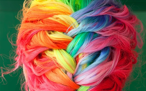 Fond d'écran tresses de cheveux teints colorés