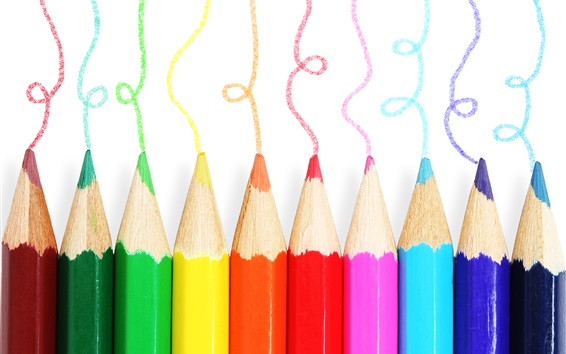 Wallpaper Colorful pencils, different colors, white background