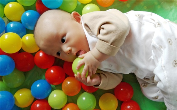 Wallpaper Colorful play balls, joy cute baby
