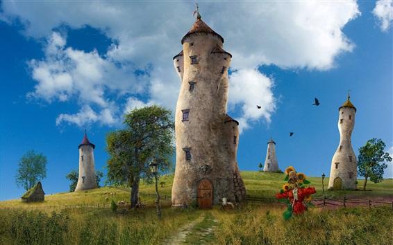 Fondos de pantalla Creativas imágenes, casas torre, nubes, hierba, cerca, nubes, pájaros