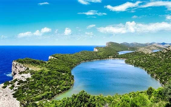 Papéis de Parede Croácia, Savar, bela costa, mar, ilhas, montanhas, céu azul