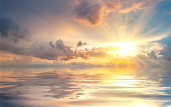 Wallpaper Dawn at sea, sunrise, clouds, beautiful nature landscape