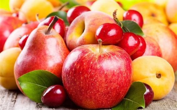 Papéis de Parede frutas deliciosas, maçãs, pêras, damascos, cerejas