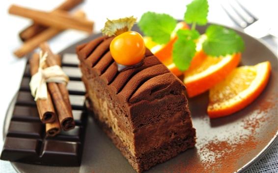Wallpaper Dessert food, chocolate cake, orange slice
