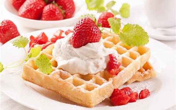 Wallpaper Dessert, sweet food, waffle, cream, strawberry, mint