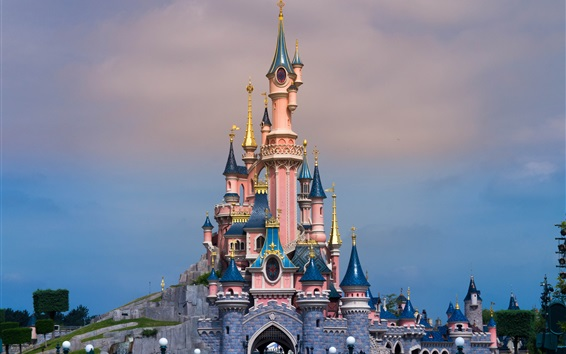 Wallpaper Disneyland in France, beautiful castle