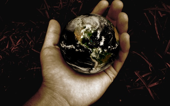 Wallpaper Earth in hand, creative pictures