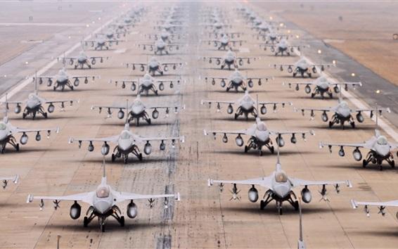 Papéis de Parede F-16 multi-aviões de combate, aeroporto, pista