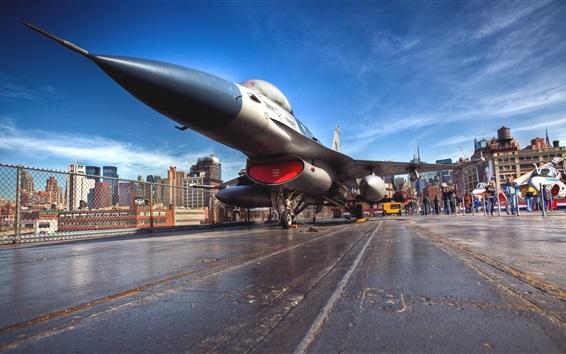 Обои F-16A истребитель, аэропорт, Нью-Йорк, США