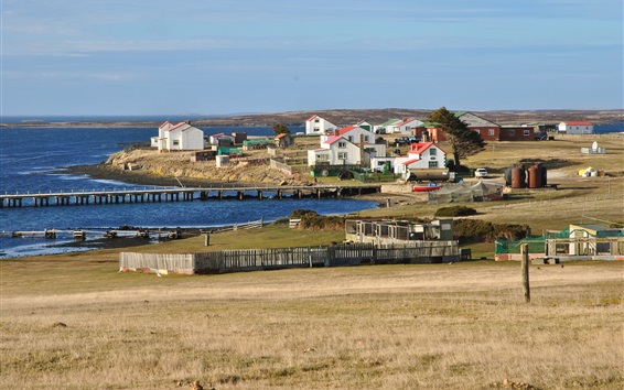 Wallpaper Falkland Islands, houses, pier, sea, UK